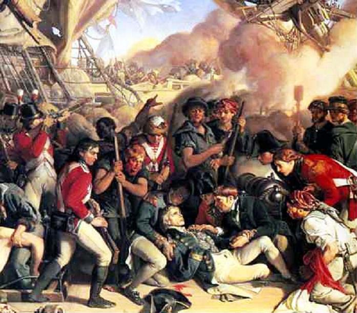 Гибель адмирала Нельсона в Трафальгарском сражении